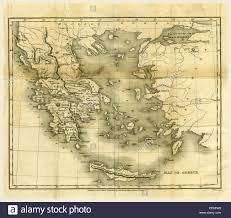 Map Of Greece by Map Of Greece In 1823 And 1824 19th Century Engraving Stock