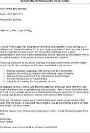 brand ambassador cover letter example