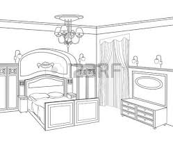 drawing room editable illustration of an outline sketch of a