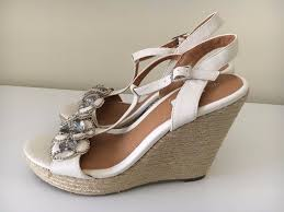 next ladies cream embellished leather wedge sandals size 6 brand