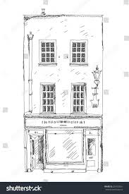 old english town house small shop stock vector 254755081