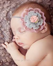 newborn headband gray and dusty pink headband felt flower headband vintage