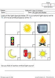 free unit 3f light and shadow printable resource worksheets for kids