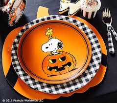 charlie brown halloween plates pottery barn kids