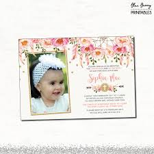 Christening And Birthday Invitation Card Floral First Birthday U0026 Baptism Invitation Pink And Gold