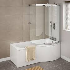 cruze shower bath enclosure 1700mm p shaped inc screen panel