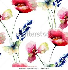 Wallpaper With Flowers Set Wild Flowers Watercolor Illustration Stock Illustration