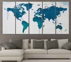 World Map Canvas Art by Large Wall Art Blue And Turquoise World Map On Watercolor Paper