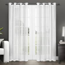 com exclusive home curtains penny sheer grommet top window curtain panel pair winter white 50x96 home kitchen