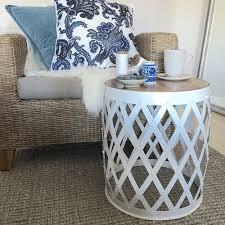 soho barrel metal side table wood top bedside table modern