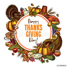 happy thanksgiving day vector sketch poster buy this stock