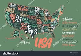 Usa Map Of States by Silhouette Map Usa Handwritten Names States Stock Vector 650476372
