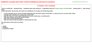 sweeper cleaner industrial work experience certificate
