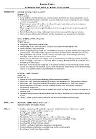 integration analyst resume samples velvet jobs