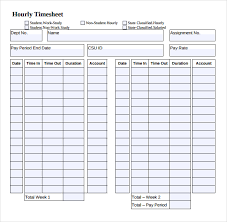 11 hourly timesheet templates u2013 free sample example format