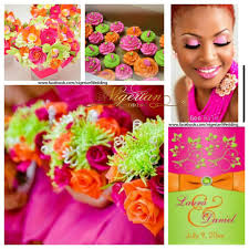 fuchsia pink orange and lime green wedding color scheme wedding