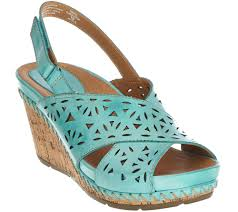 earth leather perforated peep toe wedges aries page 1 u2014 qvc com