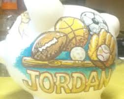 sports themed piggy banks kids piggy banks etsy