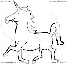 lineart clipart of a cartoon black and white unicorn running