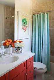 Red White And Blue Bathroom Decor Kids Bathroom With Turquoise Gingham Shower Curtain And Red