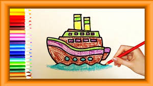 step by step how to draw boat for kids simple coloring pages