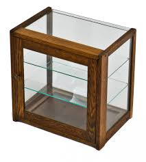 glass counter display cabinet 20th century diminutive original and intact varnished oak wood store
