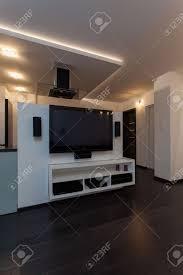 minimalist apartment modern appliances big tv in living room minimalist apartment modern appliances big tv in living room stock photo 17288507
