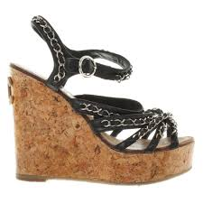 chanel wedges in black buy second hand chanel wedges in black