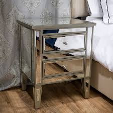 Nightstands With Mirrored Drawers Amazon Com Graham Mirror Two Drawer End Table Nightstand Kitchen