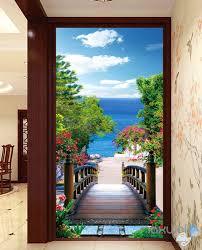 3d bridge beach tree corridor entrance wall mural decals art print 3d bridge beach tree corridor entrance wall mural decals art print wallpaper 066