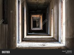 light halloween background hallway in abandoned building ghost living place horror darkness