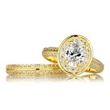 cheap gold wedding rings halo oval cut cz wedding ring set in gold