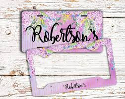purple glitter car monogrammed license plates personalized car tags to gild the lily
