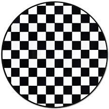 custom patchwork round cowhide rug checkers black 32504