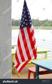 Outside Flag American Flag Hanging Outside Restaurant Tables Stock Photo