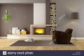 minimalist fireplace brown lounge with minimalist fireplace and vintage armchair 3d