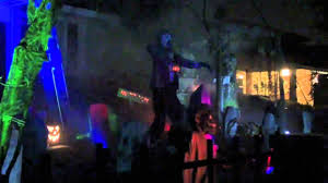 scary halloween yard display on drury lane in arlington heights