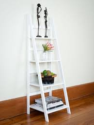 espresso stained wooden leaning ladder shelf built in writing desk