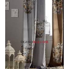 Gray Velvet Curtains Printed Bird And Tree Patterns Thick Gray Velvet Blackout Thermal