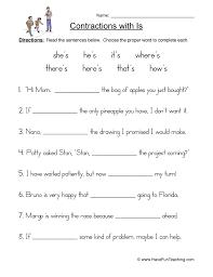 contractions s worksheet