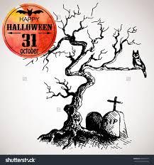 halloween graveyard background halloween scary tree owl grave typographic stock vector 218637112