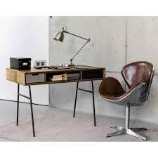 bureau vintage design bureau vintage en manguier massif et métal industrial style