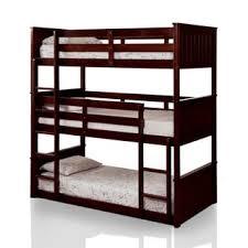 Bunk Bed For 3 Furniture Of America Tressa Espresso Corner 3 Piece Twin Bunk Bed