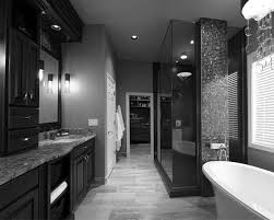 black and white themed bathroom home design ideas