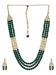 green necklace set images Buy heerina kundan and green onyx stones 3 layered necklace set by jpg