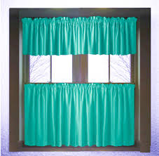 Cafe Tier Curtains Solid Teal Or Dark Teal Kitchen Cafe Tier Curtains