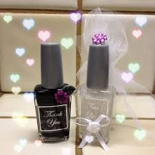 bridal favors nail polish using wedding colors white u0026 black