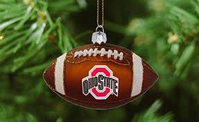 ohio state buckeyes blown glass baseball or football ornaments