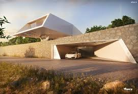 white amazing cantilever home design with white car hd wallpaper