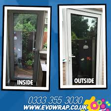 one way window film installed onto a door to stop people from
